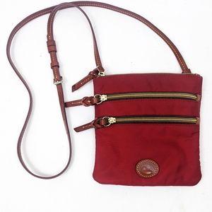 Dooney & Bourke Nylon Leather Crossbody Purse Red